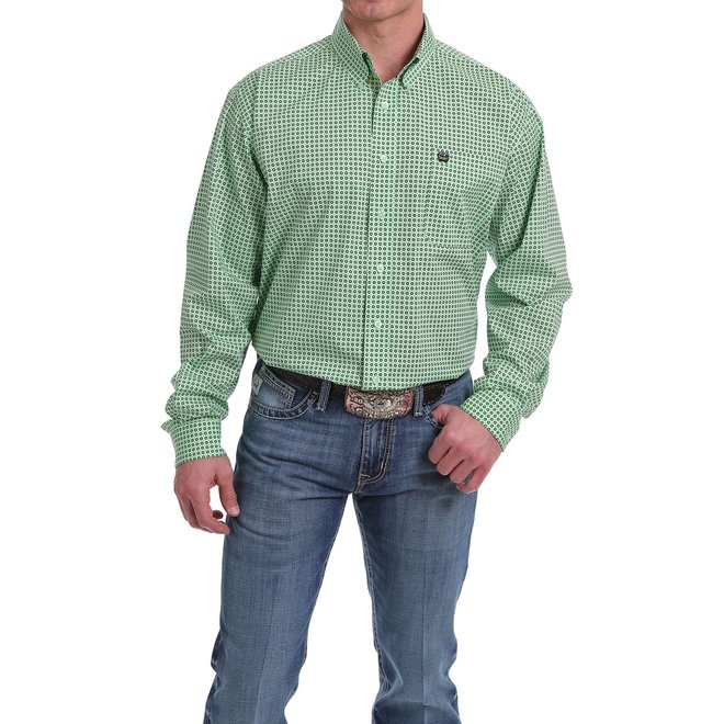 Mens Green Geo Print Button Shirt