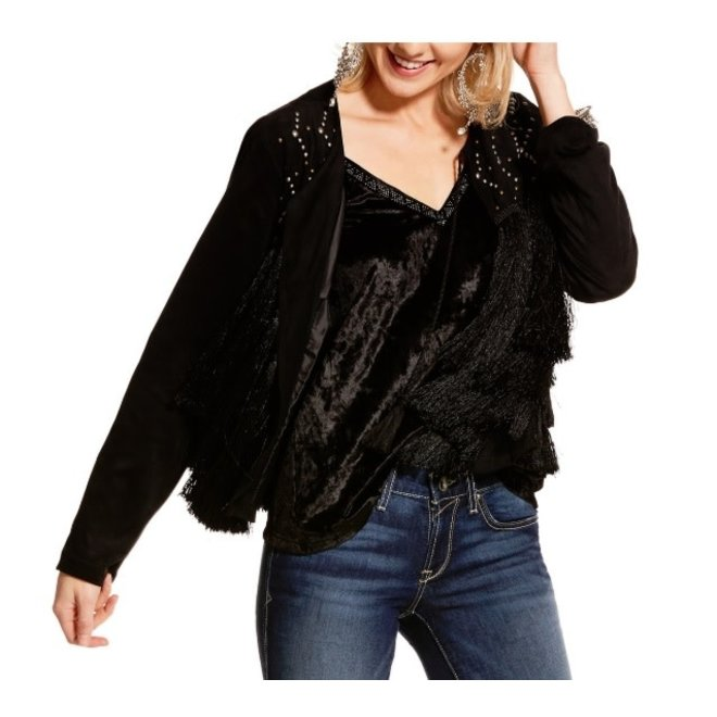 Ladies Black Fauz Suede Fringe Jacket