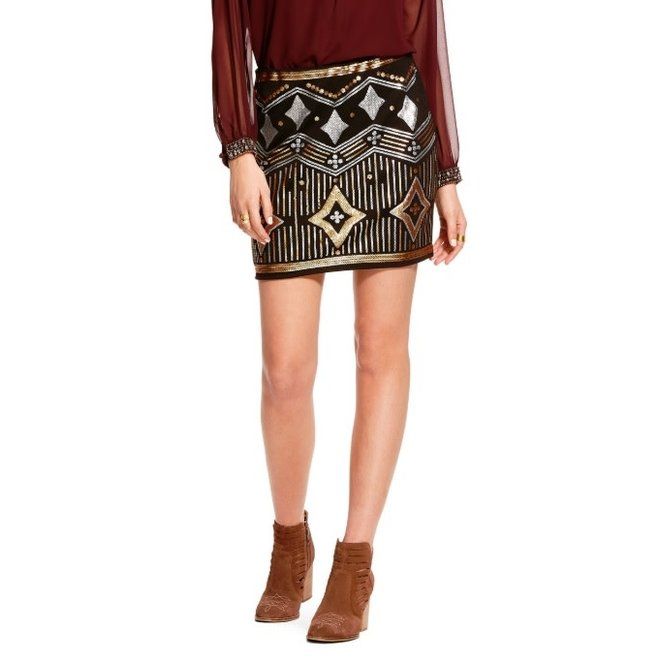 Ladies Black Metallic Sequin Skirt