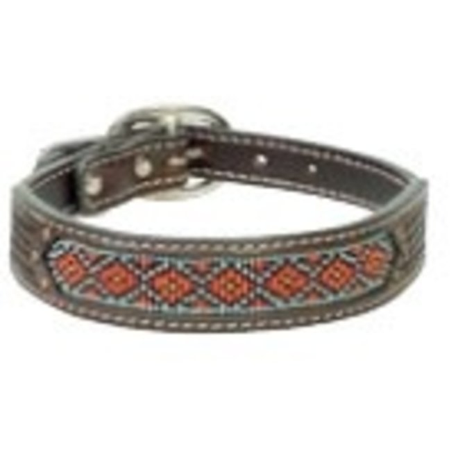 "Leather Basketweave Beaded 3/4""-1"" Collar"