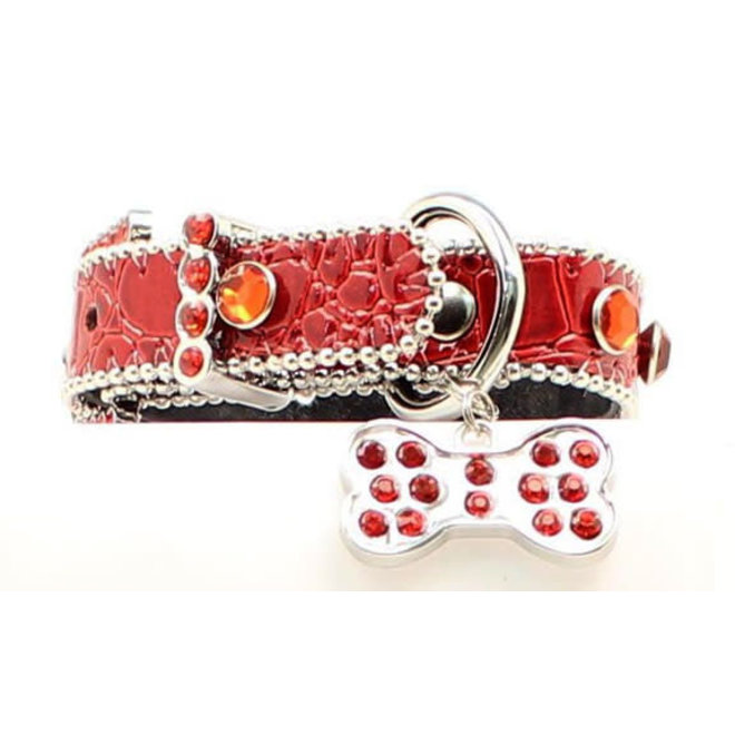 "3/4"" Red Croc Dog Collar"