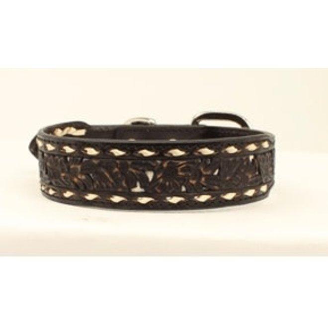 Black Floral Buckstitched Dog Collar