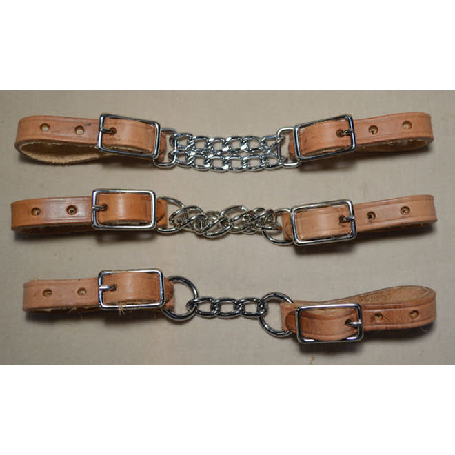Russet Leather Chain Curb Strap