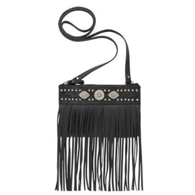 Black Saratoga Fringe Crossbody Bag