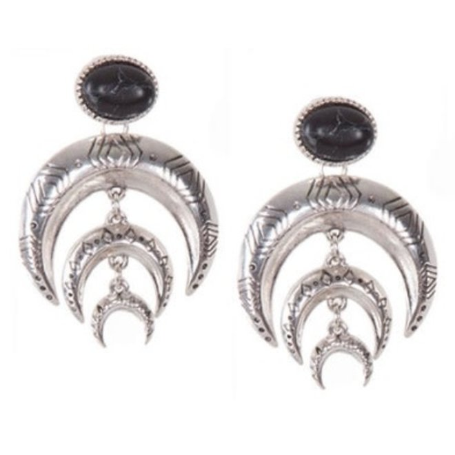 Ethnic Embossed Metal Double Horn Dangle Earrings