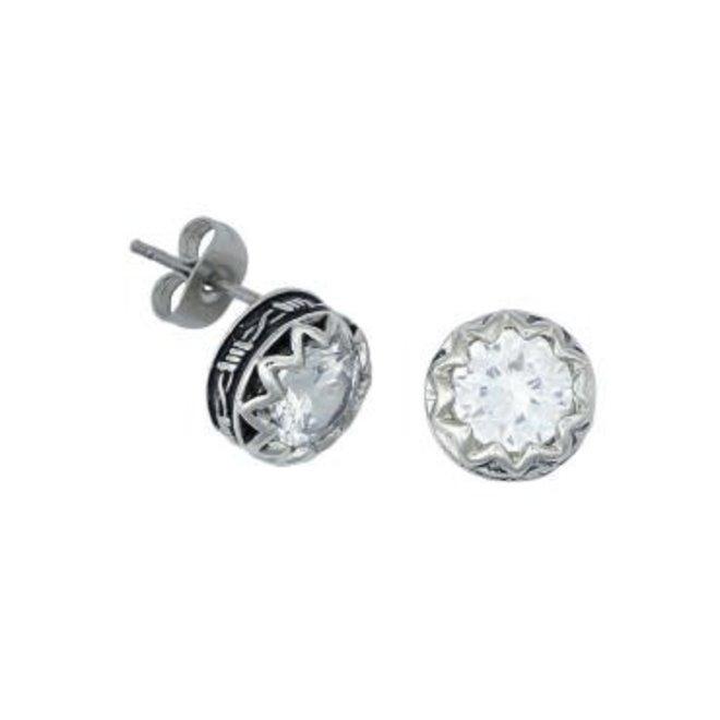 Barbwire Post CZ Earrings