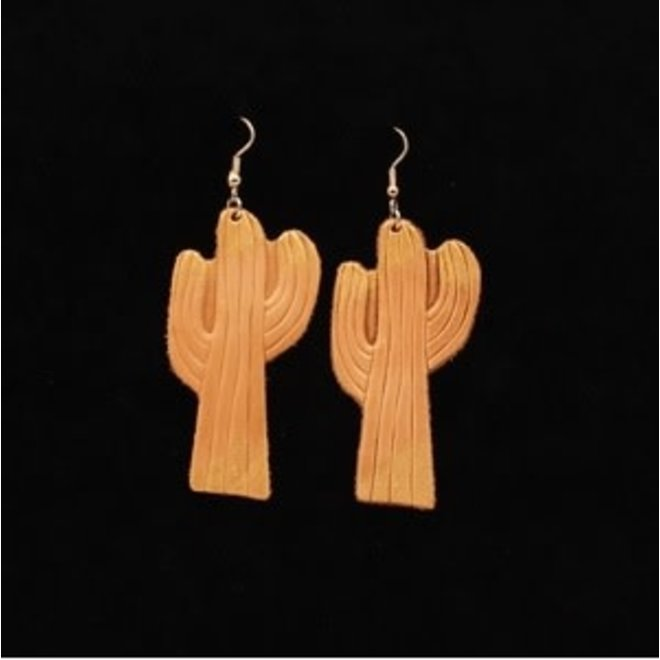Painted Leather Cactus Earring