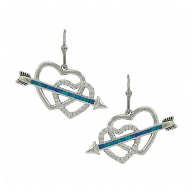 Silver Tone Opal Heart Earrings