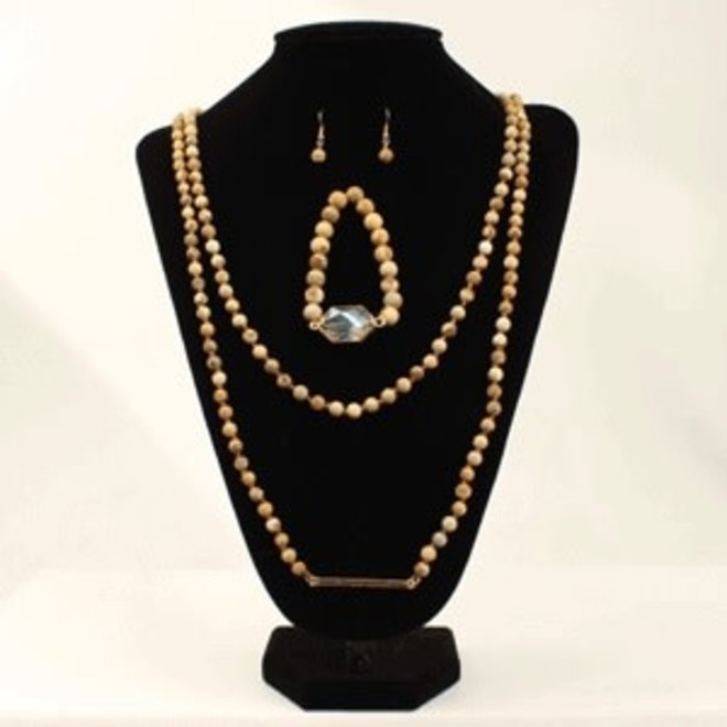3 Piece Wood Bead Jewellery Set