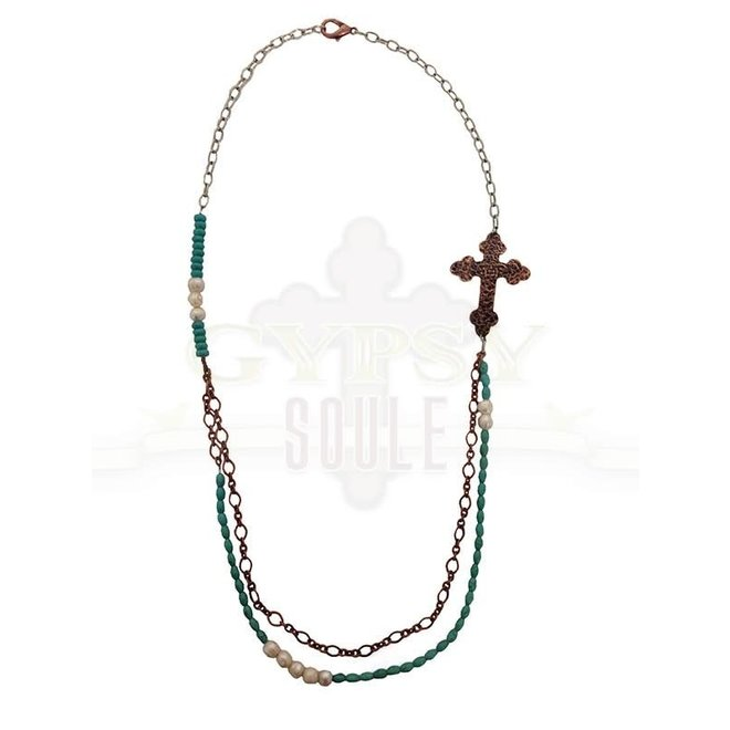 Hammered Copper Cross Beaded Necklace