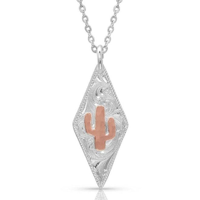 2 Tone Diamond Cactus Necklace