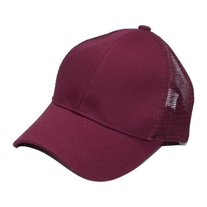 Burgundy Pony Tail Cap