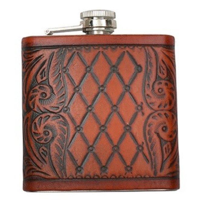 Cognac Leather Wrapped Pump Decanter