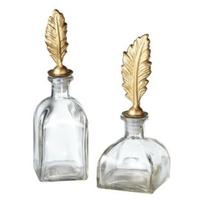 Assorted Styles of Decorative Glass Bottle with Metal Feather Topper