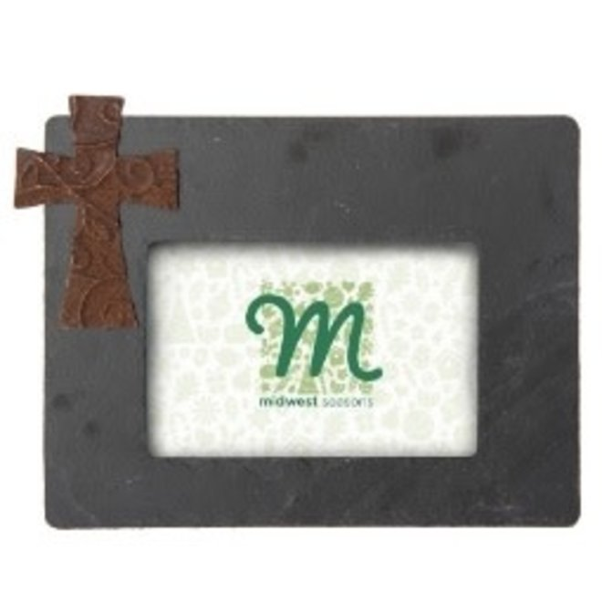 Grey Slate Frame with Rusted Metal Cross