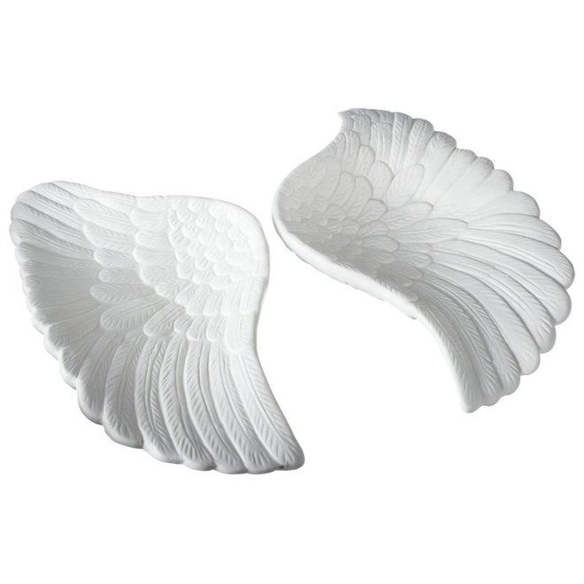White Ceramic Angel Wing Tidbit Dish - Assorted Style