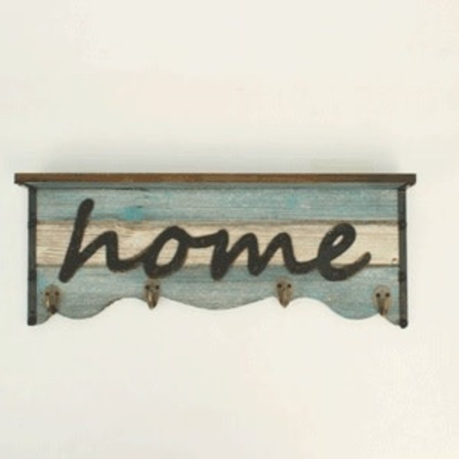 Country Chic Turquoise Shelf with Hooks