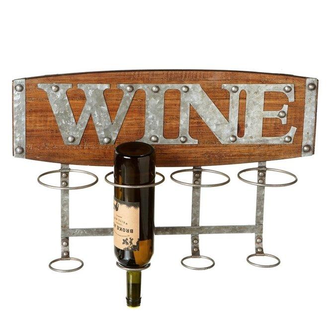 "Wood Four Bottle ""Wine"" Rack"