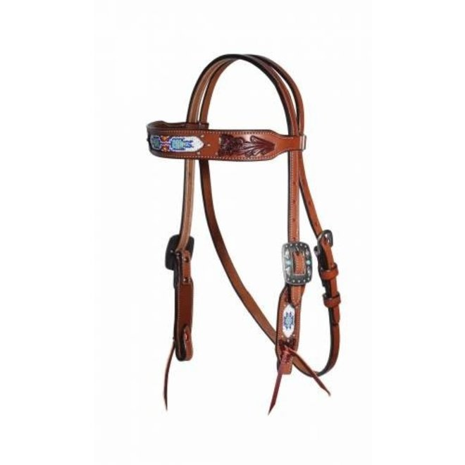 Natural Leather Beaded Headstall