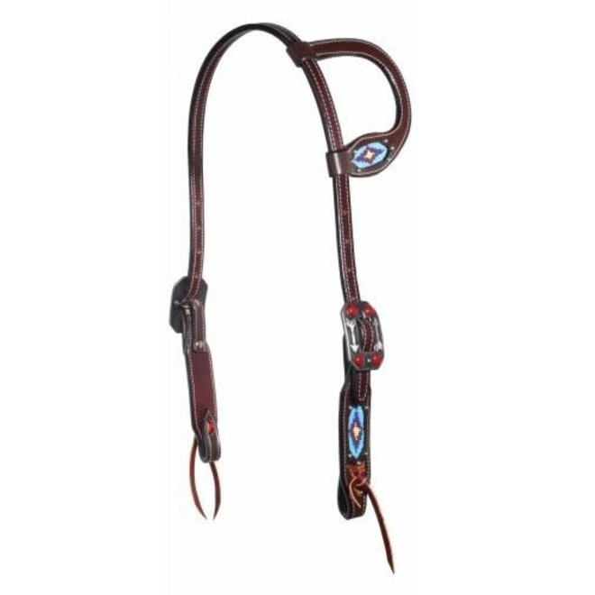 Dark Leather Beaded Slide Ear Headstall