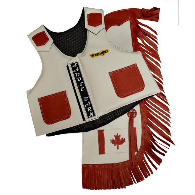 Saddle Barn Canadian Flag Kids Rodeo Vest & Chap Combo