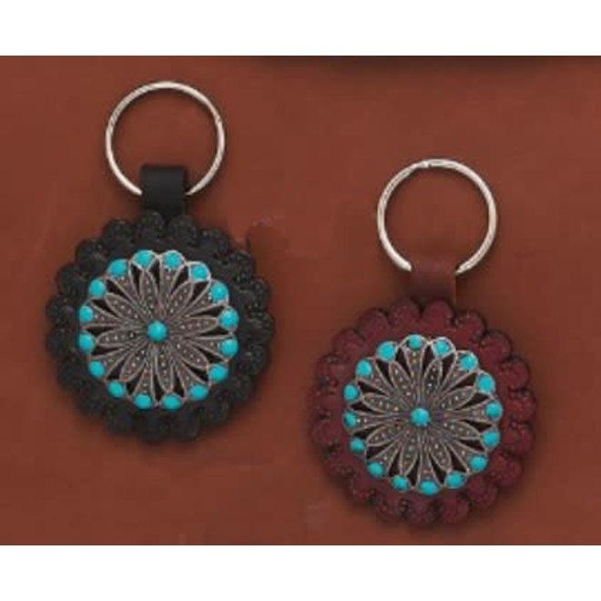 Round Leather Key Ring