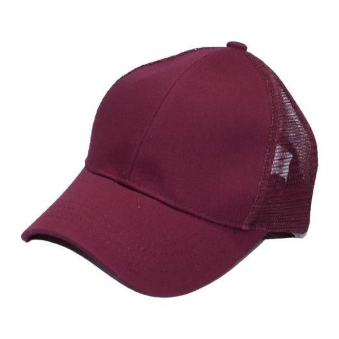 Burgundy Pony Tail Cap