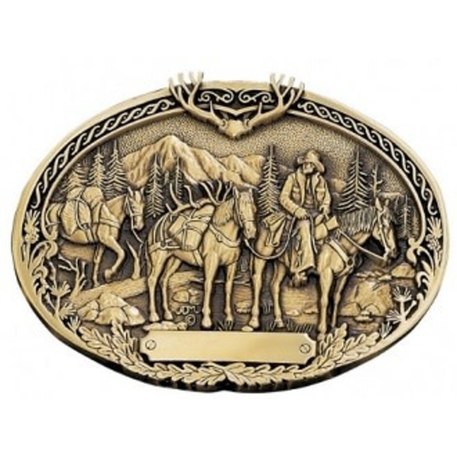 Montana Silver Brass Cast Pack Horse Heritage Buckle