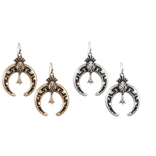 Curved Etched Ornate Dangle Earrings