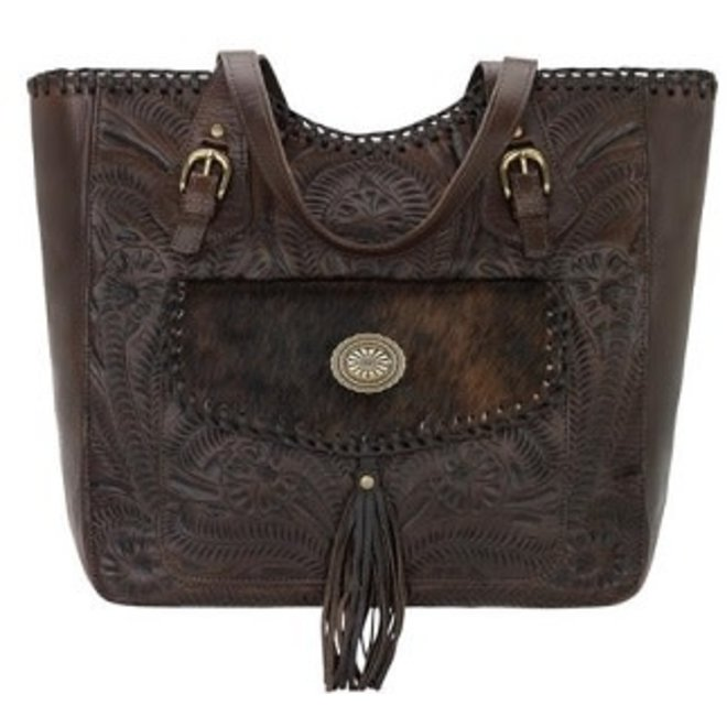 Annie's Secret Collection Large Chestnut Brown Zip Top Tote