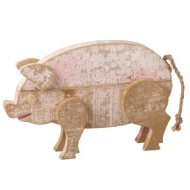 Large Distressed Wooden Pig