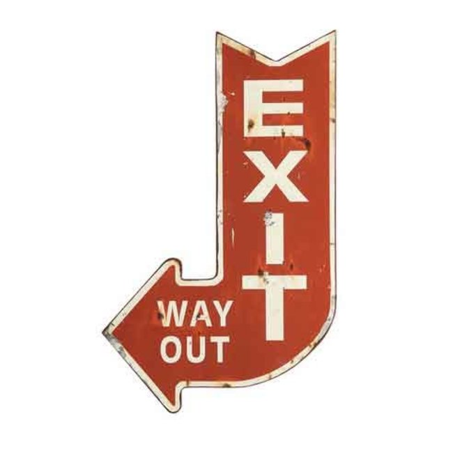 """Metal """"Exit Way Out"""" Sign"""