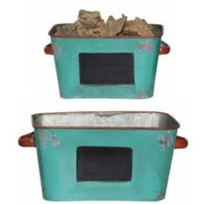 Set of 2 Aqua with Red Trim Tin Containers
