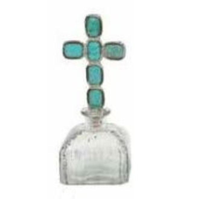"""9 1/4"""" Antique Glass Bottle with Turquoise Cross Stopper"""