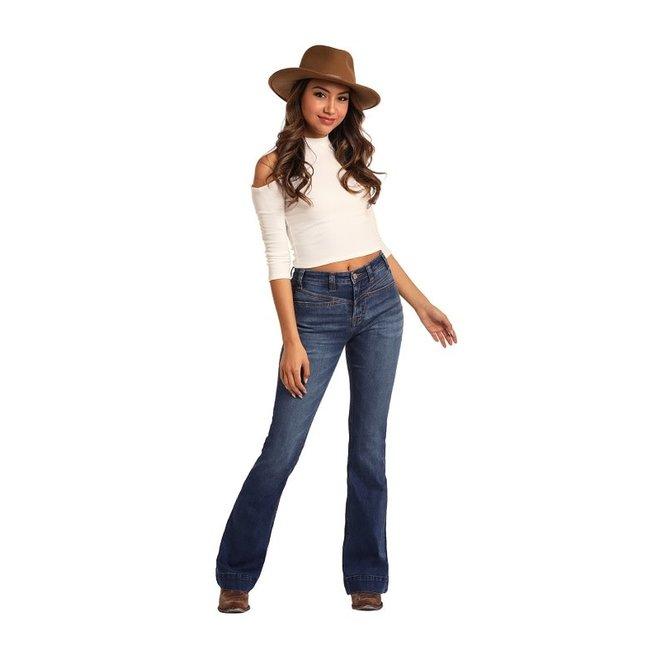 Ladies Medium Wash High Rise Flare Jean
