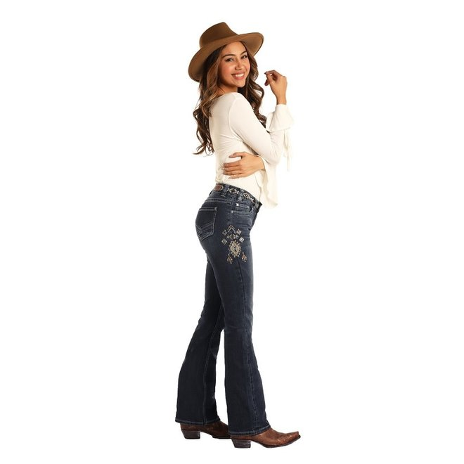 Ladies Aztec Embroidered Bootcut Jean