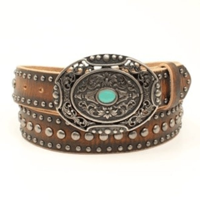 Ladies Distress Leather Nailhead Belt