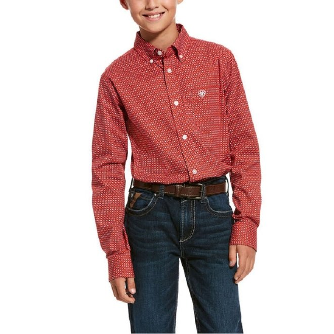 Boys Robinson Stretch Print Shirt