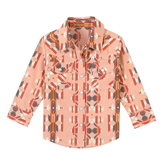 Girls Blush Aztec Snap Shirt