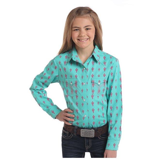 Girls Cactus Print Snap Shirt