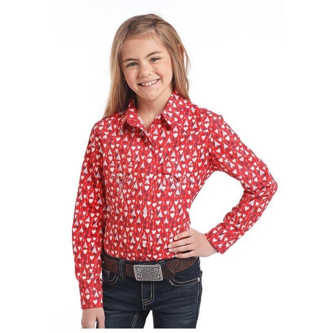 Girls Red Hearts Print Snap Shirt