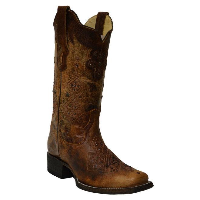 Ladies Tan/Brwn w/Studs Boot