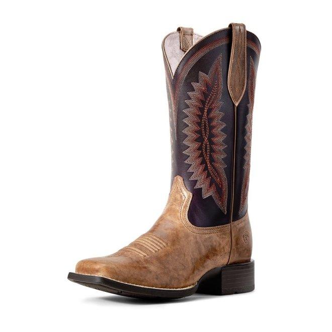 Ladies Almond Buff Square Toe Boot