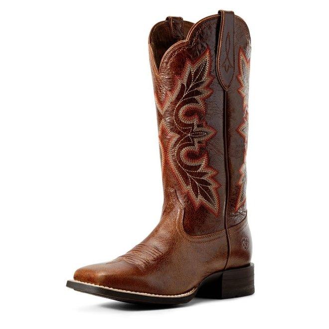 Ladies Rustic Brown Square Toe Boot