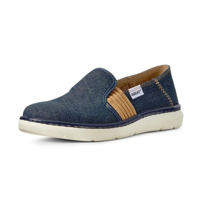 Ladies Denim Blue Slip On Shoe
