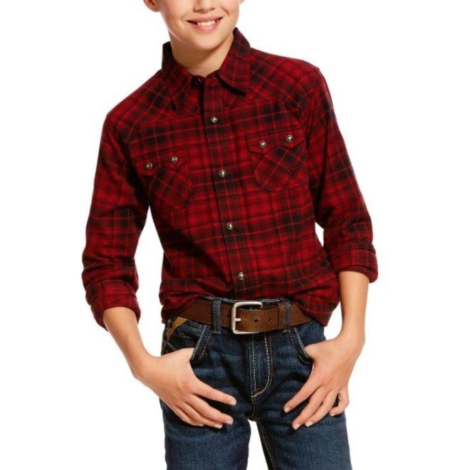 Boys Retro Red Plaid Snap Shirt