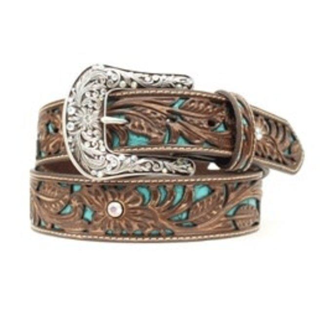 Ladies Brown & Turquoise Inlay Belt