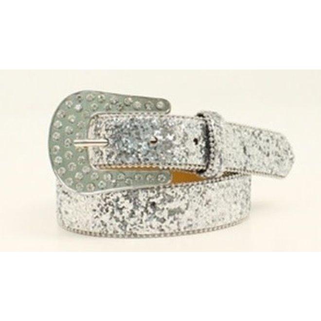 Girls Silver Glitter Belt