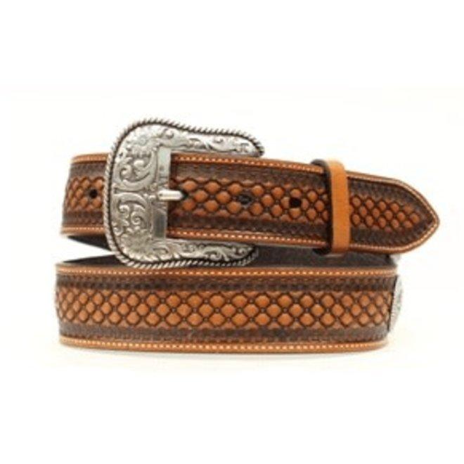 Mens Natural Basketweave and Beaded Inlay Belt