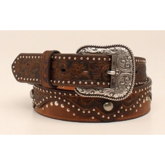 Ladies Brown Embossed Studded Belt